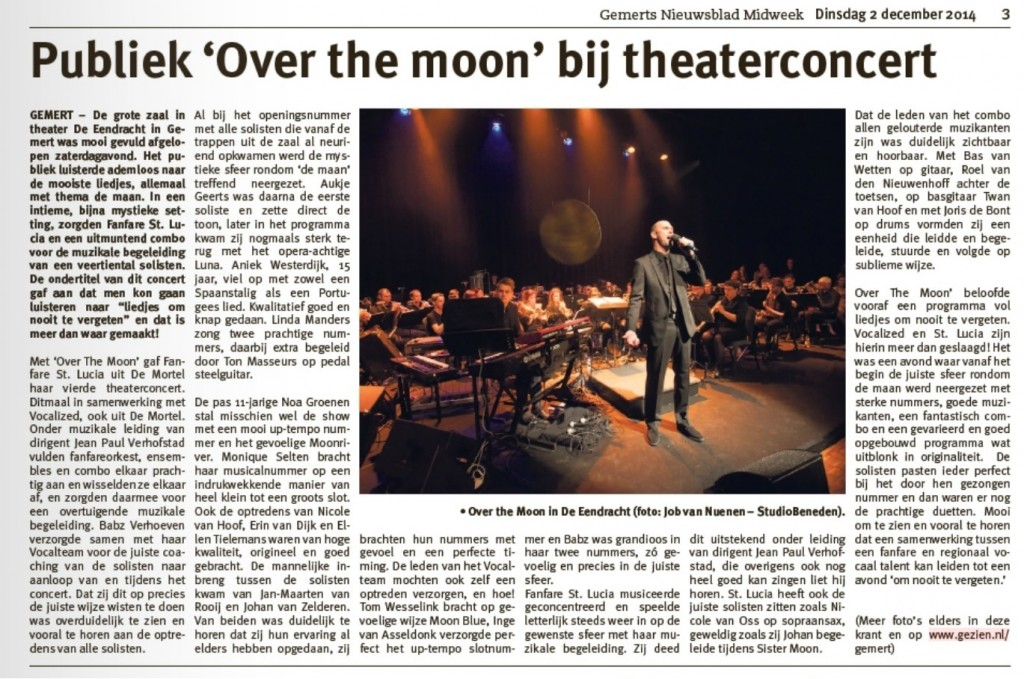 20141202 Na PR Theaterconcert Over The Moon Gemerts Nieuwsblad midweek